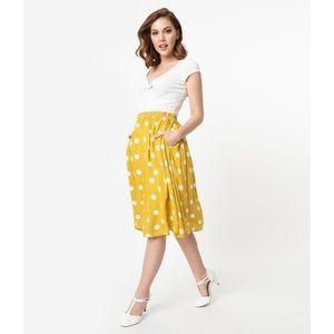 Unique Vintage Yellow Polka Dot Skirt
